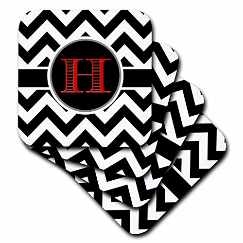 3D Rose Black and White Chevron Monogram Red Initial H Ce...