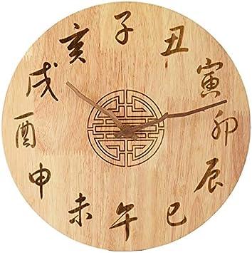 Bobo Estilo Chino Color De Madera 12 Zodiaco Tiempo Antiguo Madera Maciza Mesa Suspendida Sala De Estar Creative Mute Clock (1 Pie) (PATRÓN : Twelve Zodiac)