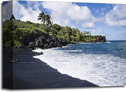 ブラックSand Beach in Maui。ギャラリーWrappedキャンバスアート 11in. x 14in. 11in. x 14in.  B077ZHKSBK