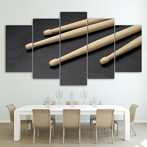 IGHFVJFG 5 Piece Canvas Wall Art -Modern HD Printed Wall Art Frame Canvas Pictures Modular 5 Panel Wooden Drum Sticks Paintings Posters Cuadros Home Decor-Size2-Framed