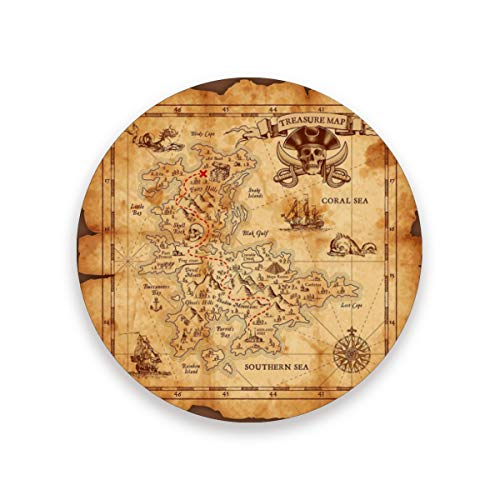 Super Detailed Treasure Map Drink Coasters Mat 3.9in Ceramic Stone Coasters with Cork Base Prevent Cups from Dirty and Scratched Suitable for Kinds of Mugs and Cups Set of 4