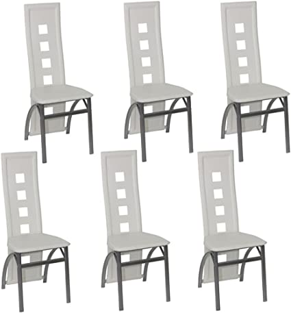 Sedie Bianche In Offerta.Vidaxl 6x Sedie Da Pranzo Similpelle Bianche Design Moderne