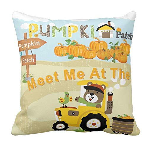 Kissenday 18X18 Inch Meet Me at The Pumpkin Patch Funny Quote Fun Saying Soft Cotton Polyester Decorative Home Decor Sofa Couch Desk Chair Bedroom Car Cute Birthday Gift Square Soft Throw Pillow Case
