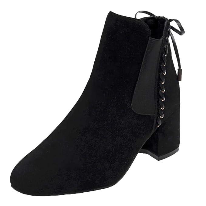 MYMYG Botas de Otoño Invierno Mujeres,Mujer Gruesa de Tacón Alto Cuadrado Gamuza Zapatos con Punta Redonda Botines de Tobillo Zapatos de Invierno: ...
