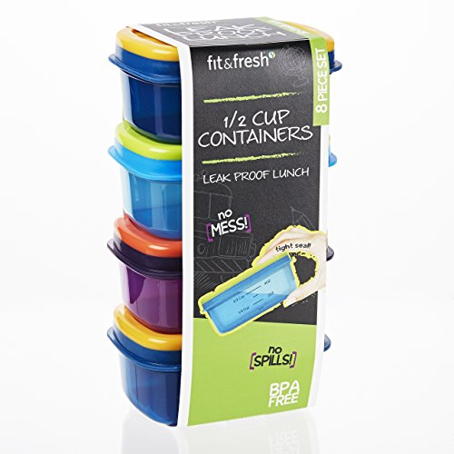 Fit & Fresh Leak-Proof 1/2 Cup Containers (Set of 4), Multicolor