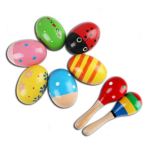 LiteBee Musical Instruments for Baby, 6PCS Colorful Egg Shakers + 2PCS Hand Hold Mini Maracas, Wooden Percussion Musical Instruments for Toddlers Educational Toys Gift by by LiteBee