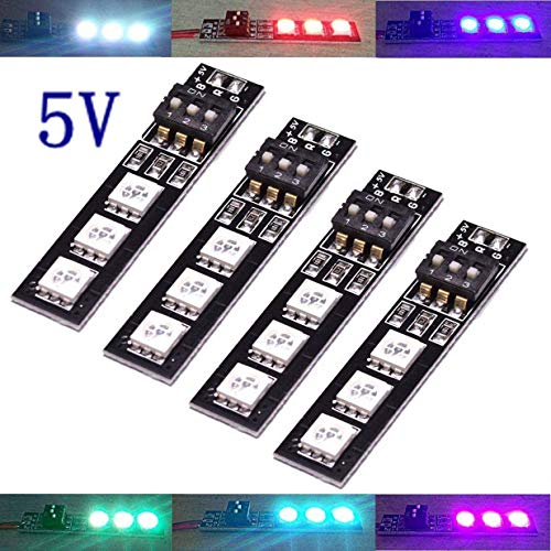 (ShareGoo 4PCS 7 Colors 5V 5050 RGB LED Strip Night Light with DIP Switch for QAV250 FPV 210 ZMR250 F450 F550 Quadcopter)