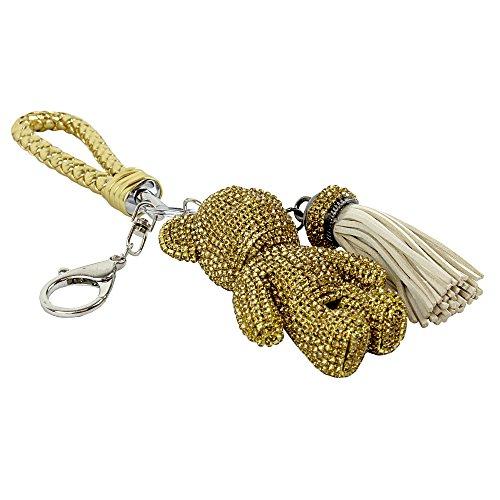 Braided Gold Tassel (Teddy Bear and Tassel Purse Charm Braided Strap, Gold)