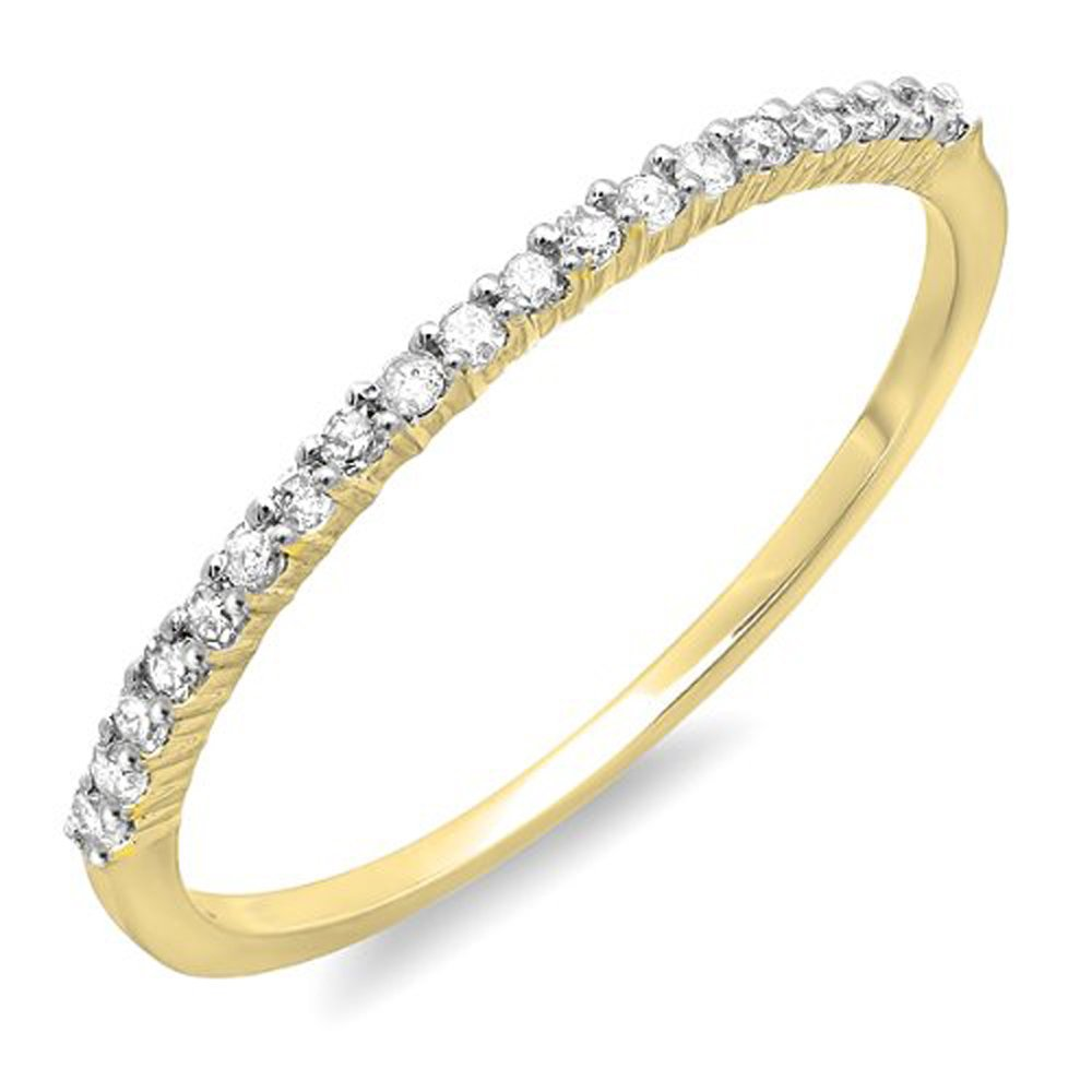 Dazzlingrock Collection 0.15 Carat (ctw) 14k Round Diamond Ladies Anniversary Wedding Band Stackable Ring, Yellow Gold, Size 8