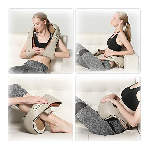 FIVE S FS8801 Deep Tissue 3D Kneading Shiatsu Neck, Shoulder, Back, Leg and Foot Massager Pillow with Heat, Beige