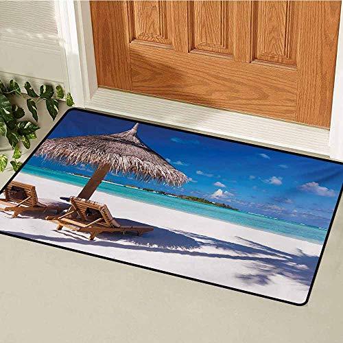 (GUUVOR Landscape Front Door mat Carpet Island Caribbean Honeymoon Themed Beach Seashore Ocean Print Machine Washable Door mat W29.5 x L39.4 Inch White Pale Brown and Turquoise)