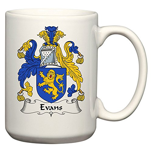 Evans Coat of Arms / Evans Family Crest 15 Oz Ceramic Coffee / Cocoa Mug by Carpe Diem Designs, Made in the U.S.A. - Italian Coat Of Arms