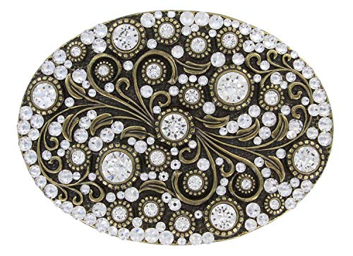 (Antique Brass Oval Engraved Full Crystal Rhinestone Belt Buckle)