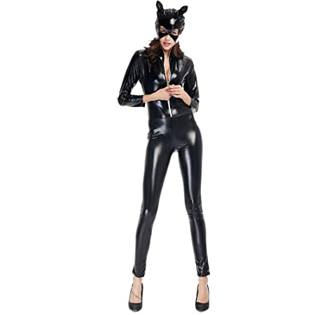 HGUIAZ Catsuit Mujer Bodysuit Cosplay Catwomen Disfraces con PU ...