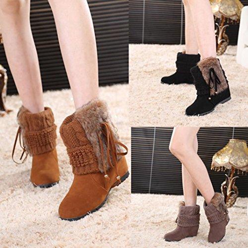 Dayseventh Womens Winter Boots Bowknot Plush Shoes Pelliccia Calda Stivaletti Da Neve Nero