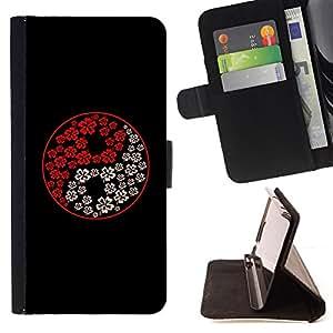Jordan Colourful Shop - yin yang white red black flowers art For Apple Iphone 6 - < Leather Case Absorci????n cubierta de la caja de alto impacto > -