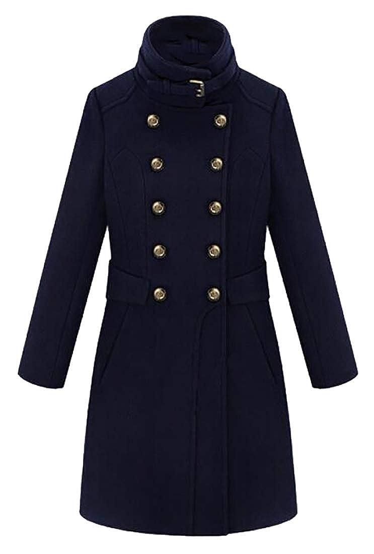 Dark bluee pujinggeCA Women's Long Sleeve Double Breasted Wool Peacoat Overcoat Jacket