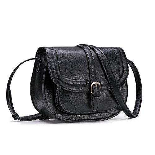 Saddle and Crossbody Purse Hasp Satchel Cover Large Long black Small Women Adjustable Bag Leather Bag Strap Vintage for Shoulder with PU fAwqn7zP