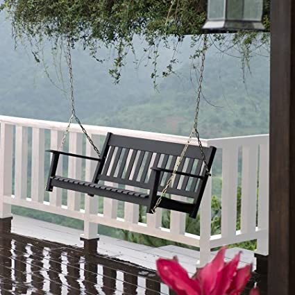 Better Homes And Gardens! Delahey Outdoor Porch Swing, Seats 2, Black +  Handi