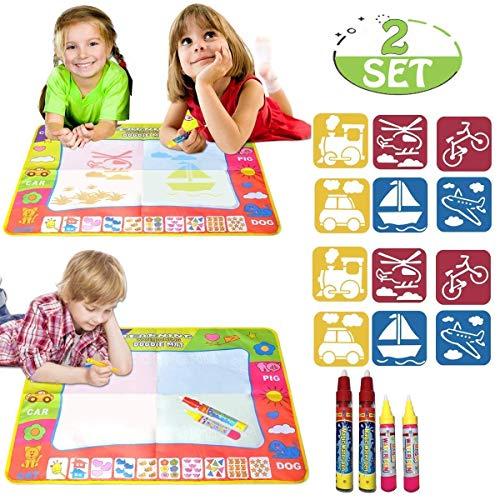 POKONBOY Aqua Doodle Mat 4 Color Children Water Magic Drawing Book Mat Board & 2 Magic Pens & 6 Drawing formwork Doodle Kids Educational Toy Gift for Boys Girls 31.5 x 23.6(2 Sets)
