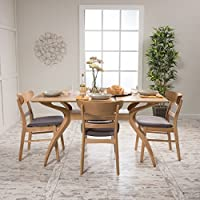 Isador Mid Century Fabric & wood Finish 5 Piece Dining Set (Oak/Dark Grey)