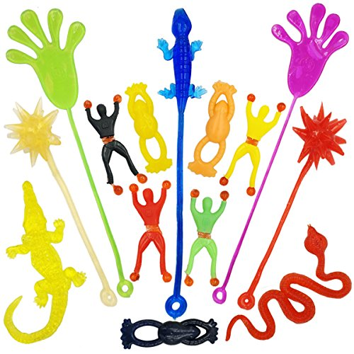DoDoMagxanadu 14 Pack Vinyl Assorted Stretchy Sticky Toy Novelty Fidget Toy Including Large Sticky Hands, Wall Climber Men, Hammers, Snakes,Lizards,Crocodile and Flying Frogs for Party Favor -