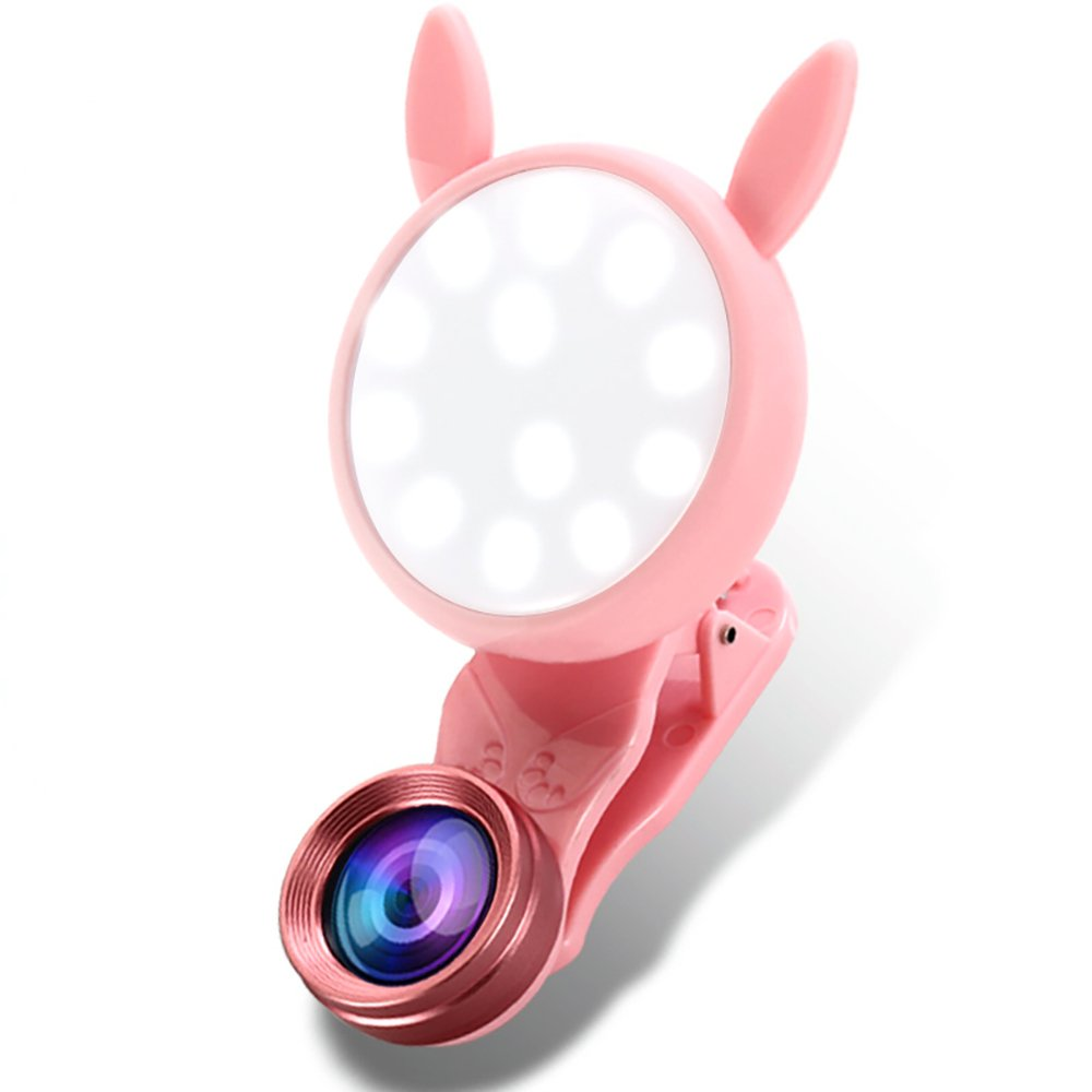 Camera Lens Kit with Fill Lights 0.62X Super Wide Angle Lens & 20X Macro Lens (Attached Together) USB Rechargeable Clip on 2 in 1 Cell Phone Lens for iPhone Samsung Smartphones -Pink