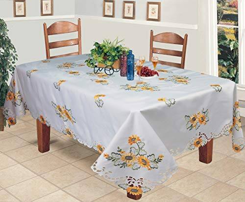 Creative Linens Sunflower Tablecloth Embroidered Cutwork Table Cloth 70x90 Rectangular with 8 Napkins White