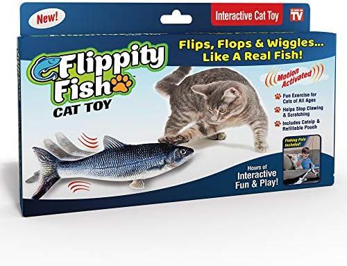 Ontel Flippity Fish Cat Toy, flops y menea como un pez real, incluye caña de pescar y catnip 2