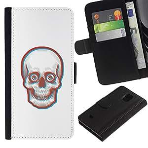 YiPhone /// Tirón de la caja Cartera de cuero con ranuras para tarjetas - Cara 3D Skull Skeleton - Samsung Galaxy S5 Mini, SM-G800