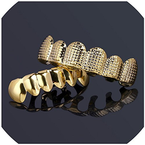 Fashion New Custom Fit Gold Plated Hip Hop Teeth Grillz Caps Top &Bottom Grill Set for Gift Classic Teeth Gold Grillz (Set Yellow Grillz)