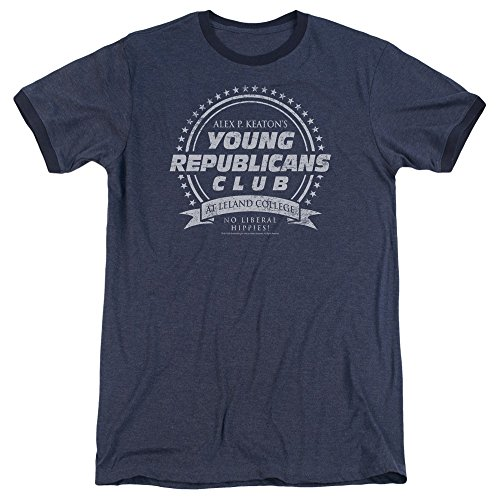 Republican Ringer T-shirt - Family Ties Young Republicans Club Mens Adult Heather Ringer Shirt Navy Md