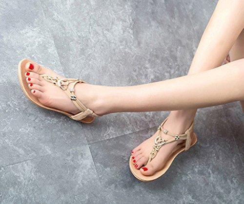 Scothen Peep-toe informal hebilla plana zapatos de mujer sandalias señoras zapatos ocasionales hebilla plana sandalias Roman Sommer T-correa sandalias de gladiador correa flip-flop zapatillas Beige