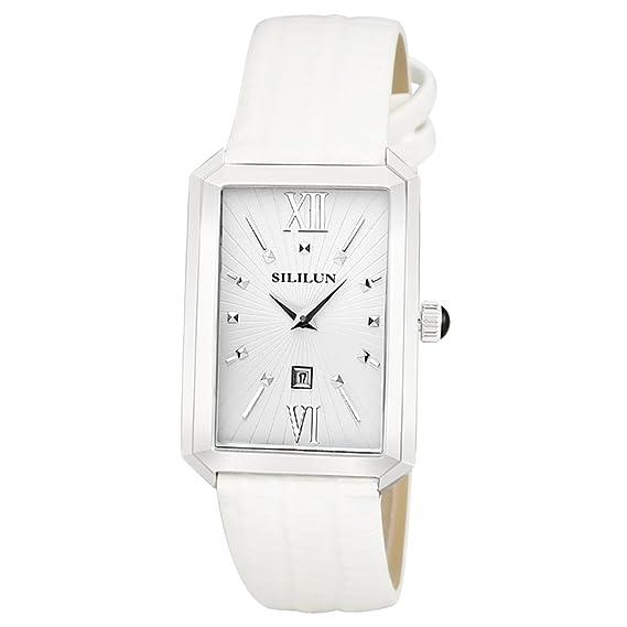 SILILUN Unisex Watch Men Rectangle Wrist Watch Quartz Analog Leather Business Watch Dress Watch (white