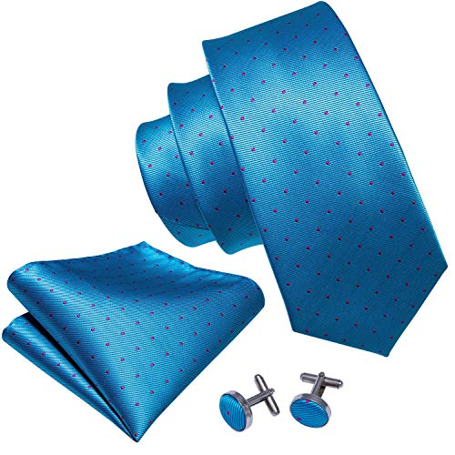 Link Dot (Barry.Wang Bright Blue Ties for Men Necktie Pocket Square Cufflinks Small Dot)
