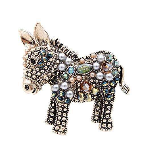 New Arrival Cute Beads Donkey Brooches for Women Fashion Animal Pins Elegant Coat Accessories High Quality Gift-in Brooches from Jewelry & - Jewelry Brooch Quality