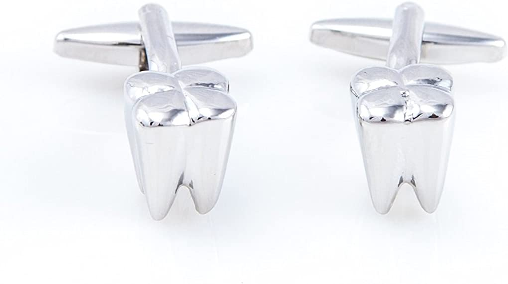 MRCUFF Dentist Tooth Teeth Dental Cufflinks Pair in Presentation Gift Box & Polishing Cloth