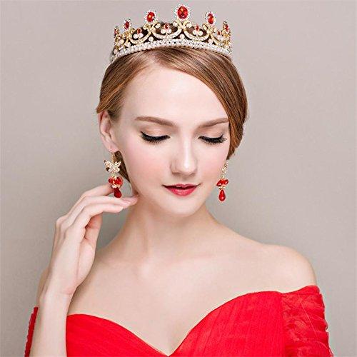 Topwedding Ruby Rhinestone Pearl Tiara Headband Wedding Bridal Tiara Crown Headpieces, Ruby HG150020