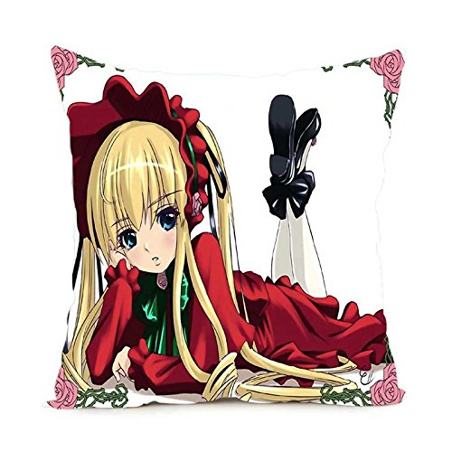 Package Popular Anime Style Pillow Cover Square Zippered Throw Pillowcase Soft Pillow Sham Bedding Set 18x18 Inch ()