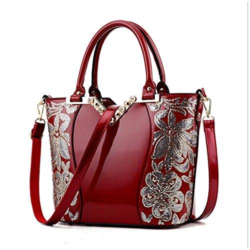 pelle 4Colour e Vino Rosso1 Donna Elegante Bauletto Borsa da Manici G Tracolla con AVERIL in Sq7w4f