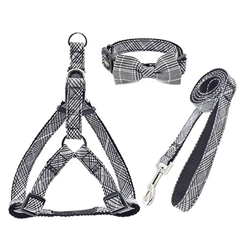 LZYMSZ Dog Harness Adjustable & Durable Plaid Pet Harness,3 Pack(Vest Harness&Bow Collar&Leash) Anti-Twist Dog Leash Set for Small Medium Large Puppy,Perfect for Daily Walking Training Running (Grey)