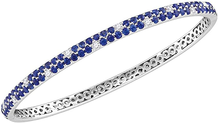 """Details about  /3 TCW 14k Gold-Plated Genuine Sapphire and Diamond Accent Heart Bracelet 7.25/"""""""