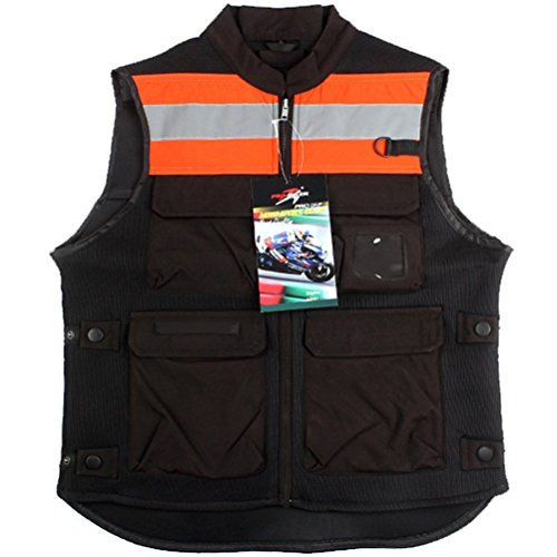 TINTON LIFE Breathable Motorcycle Biker Vest with Pockets Unisex Reflective Motorcycle Riding Suit (Fluorescent Orange, XL)