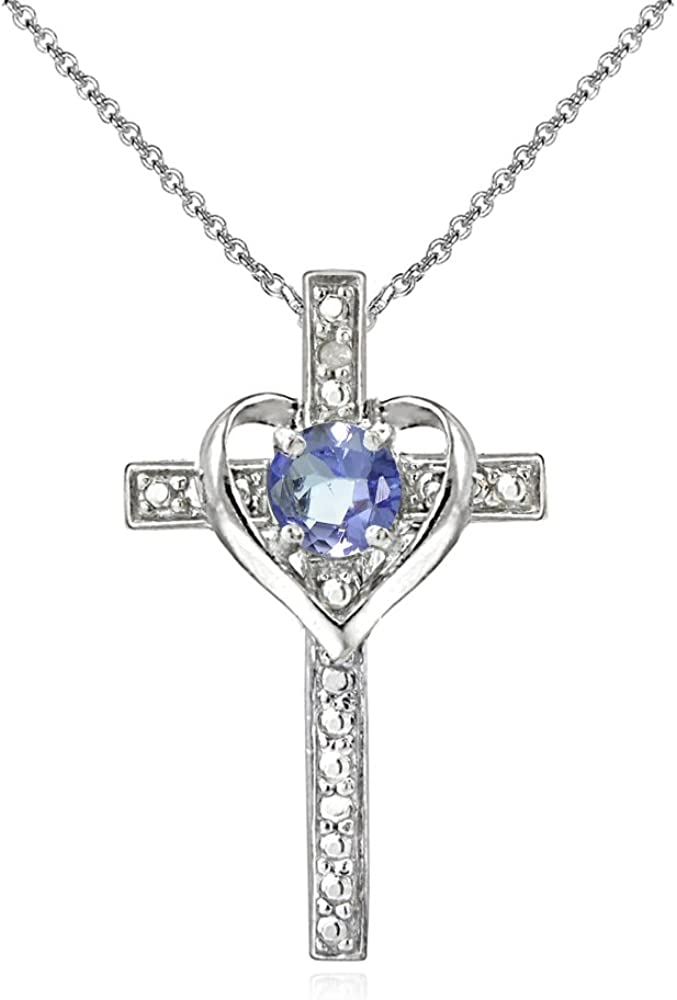 Sterling Silver Tanzanite Cross Heart Pendant Necklace for Girls Teens or Women