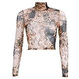MODOQO Women's Long Sleeve Tops Casual Print O-Neck T-Shirt Blouse(Khaki,S)