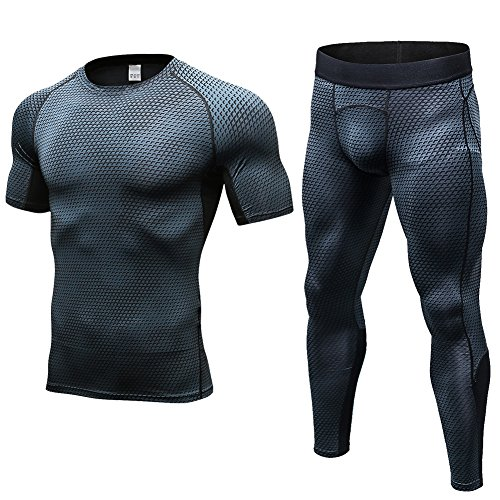 New FITIBEST Men Quick Dry Sports T-shirt Pants Set Compression Baselayer Exercise Clothes Workout Bodysuit Ultra Thin for sale