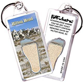 """product image for Hilton Head""""FootWhere"""" Keychain (HH101 - Beach Pads). Authentic Destination Souvenir acknowledging Where You've Set Foot. Genuine Soil of Featured Location encased Inside Foot Cavity. Made in USA"""