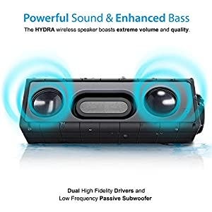 Photive Hydra Wireless Bluetooth Speakers. Waterproof Rugged Portable with built in Subwoofer and Long Battery