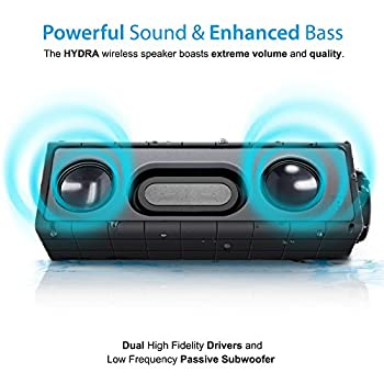 Photive Hydra Portable Bluetooth Speaker With Enhanced Bass. Waterproof Rugged Portable Speaker For Home, Travel & Outdoors 2