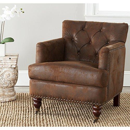 - Safavieh Hudson Collection Mario Antiqued Brown Club Chair